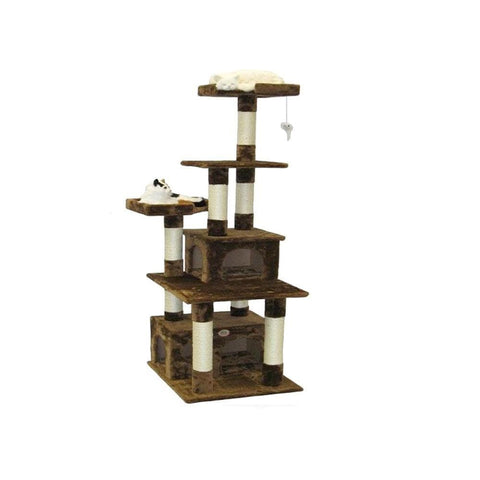 GO PET CLUB Brown Cat Condo 71Wx61Lx171H - My Cat and Co.