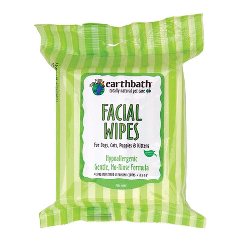 Earthbath Hypoallergenic Facial Wipes Fragrance Free 25pcs - My Cat and Co.