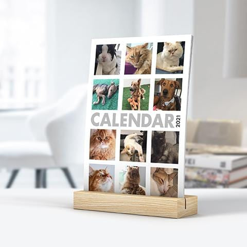 Custom Wooden Block Desk Calendar 2021