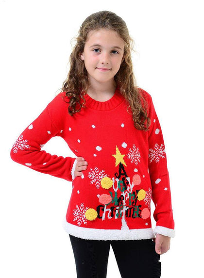 Children's Red Very Merry Christmas Jumper