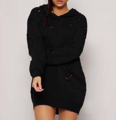 Black Ripped Distressed Oversized Hooded Jumper Dress