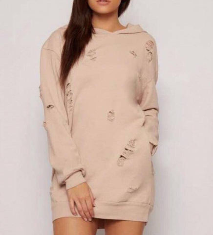 Nude Ripped Distressed Oversized Hooded Jumper Dress