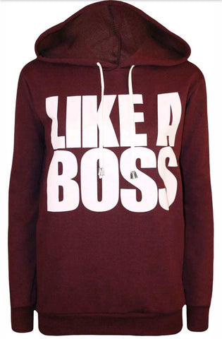 Wine Like a Boss Slogan Hoodie