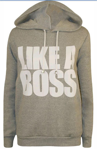 Grey Like a Boss Slogan Hoodie