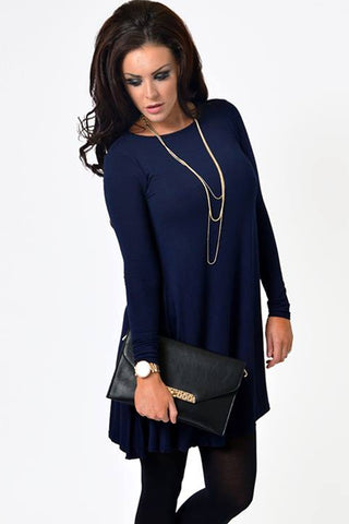 Navy Swing Dress - Need That Style