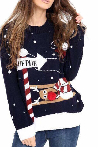 Navy To The Pub Christmas Jumper