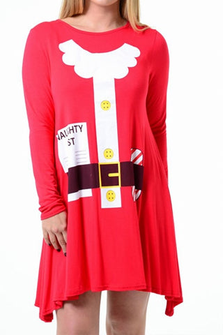 Red Santa Naughty List Christmas Swing Dress