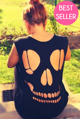 Black Skull Vest Top - Need That Style