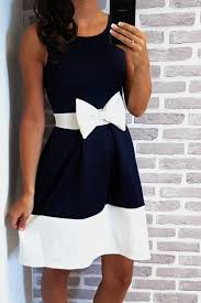 Navy Bow Skater Dress