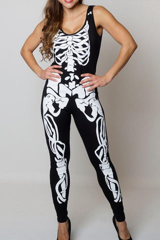Halloween Skeleton Print Jumpsuit - Need That Style