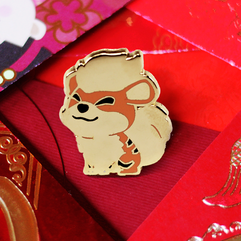 BABY GOLD GROWLITHE ENAMEL PIN[ LIMITED EDITION]