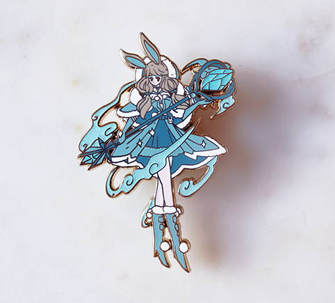SNOW MAGE HOLLY ENAMEL PIN [BATTLE BUNNY]