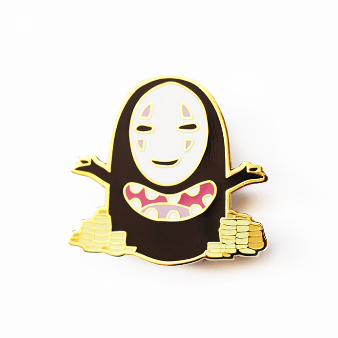 NO FACE COINS ENAMEL PIN