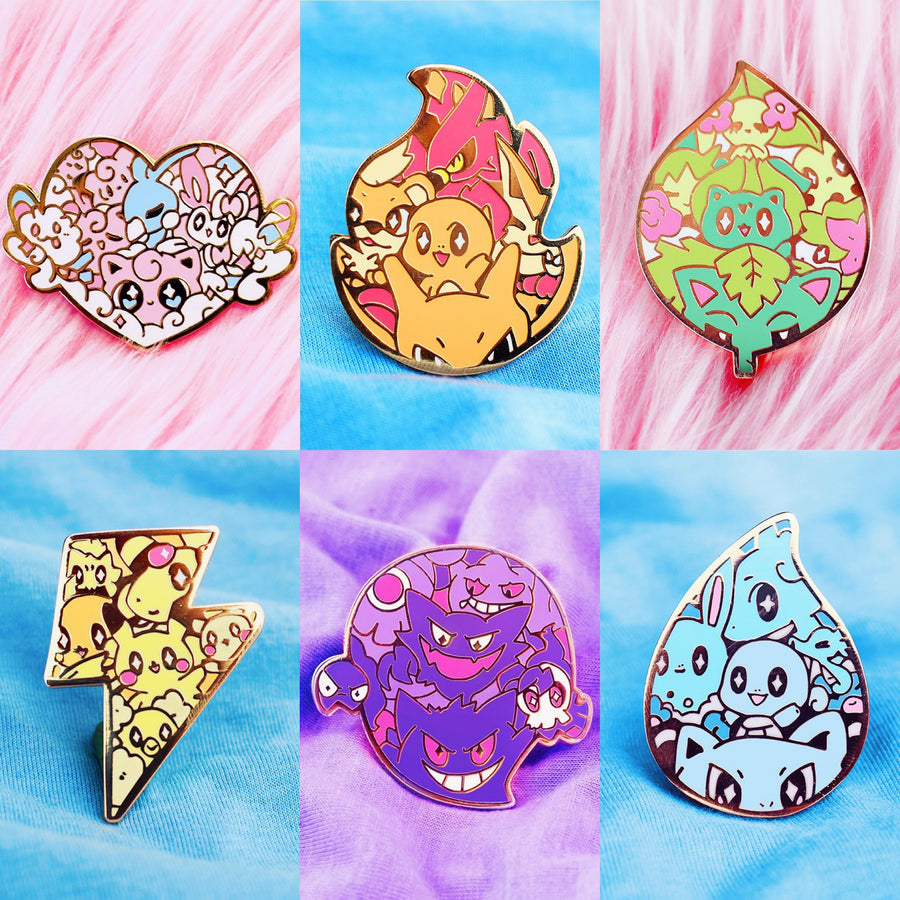POKETYPE BADGES ENAMEL PIN SET [6 PC]