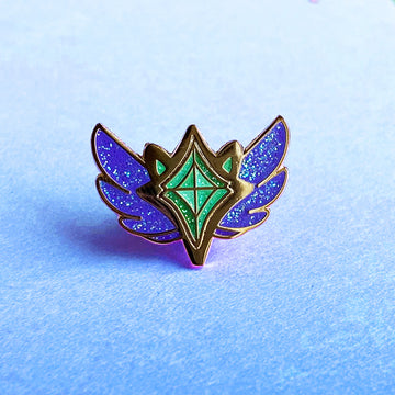 CORRUPTED STAR GUARDIAN CHARM ENAMEL PIN - RAKKAN EMERALD