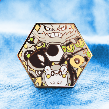 STEEL POKETYPE BADGE ENAMEL PIN