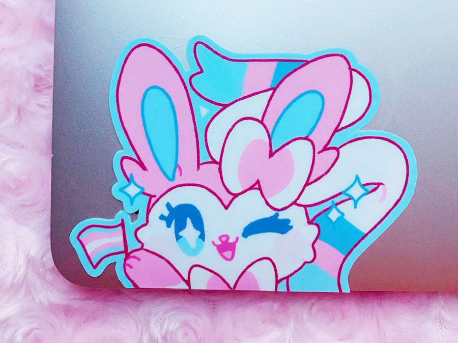 SLYVEON TRANS PRIDE PEEKING VINYL STICKER [LARGE]