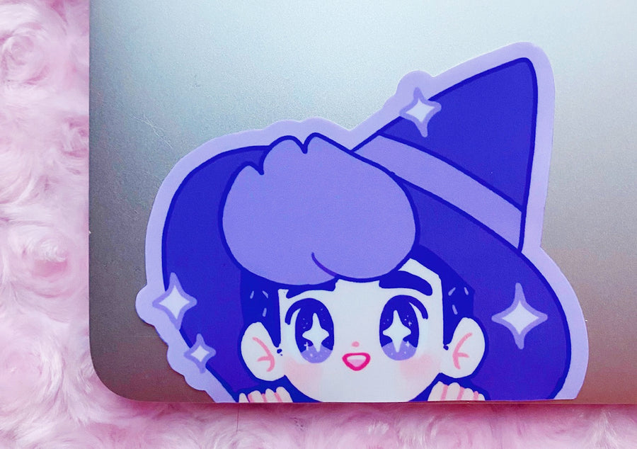 WITCH BOY PEEKING VINYL STICKER [LARGE]