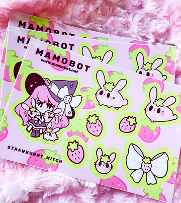 Strawbunny Witch Sticker Sheet