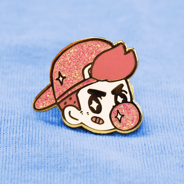 Tough Guy! Pink Glitter Enamel Pin