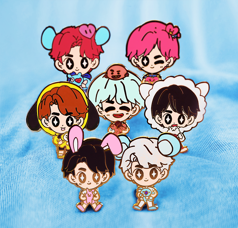 BTS BT21 BOYS ENAMEL PIN SET [7 PC]