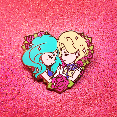 SAILOR NEPTUNE AND URANUS ROSES ENAMEL PIN