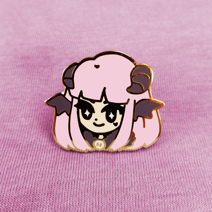 MONSTER GIRL: SUCCUBAE ENAMEL PIN [PINK]