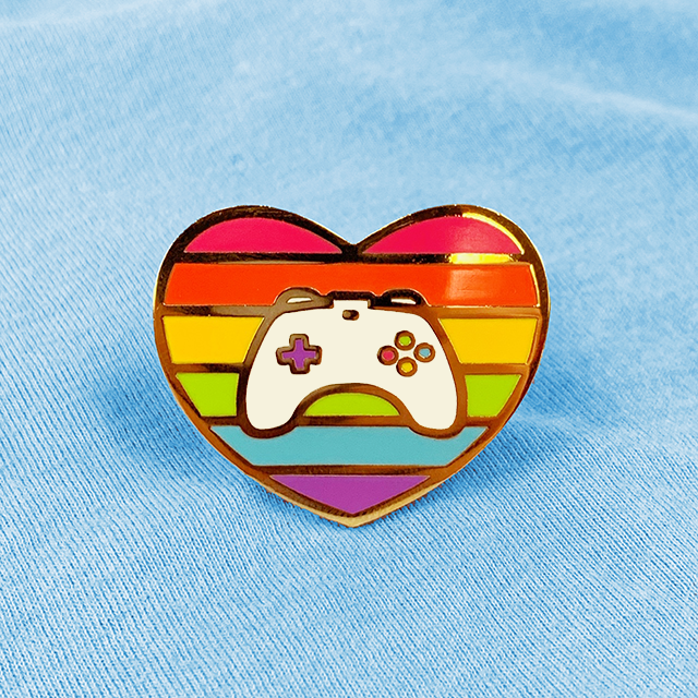 GAYMER HEART [RAINBOW] ENAMEL PIN