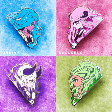 MONSTER GIRLS ENAMEL PIN SET [4 PC]