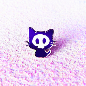 Skull Kitty Enamel Pin