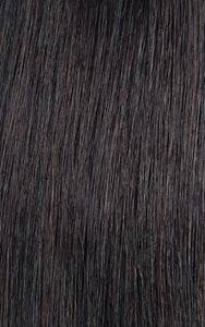Close up image of LUSHIERE clip in hair extensions in very dark brown colour #2d Deep Dark Brown taken in natural light