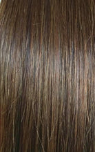 Close up image of LUSHIERE clip in hair extensions in chestnut brown colour #4 taken in natural light