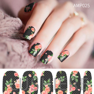 Image of manicured hand wearing nail wraps nail stickers in Rose Floral design