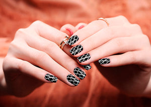 Image of manicured hands wearing nail wraps nail stickers in Brick Monochrome design