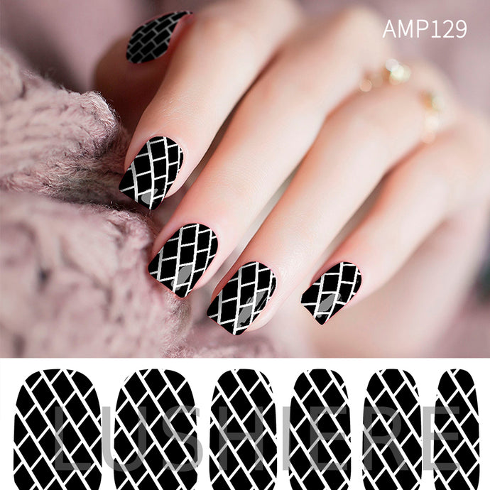 Image of manicured hand wearing nail wraps nail stickers in Brick Monochrome design