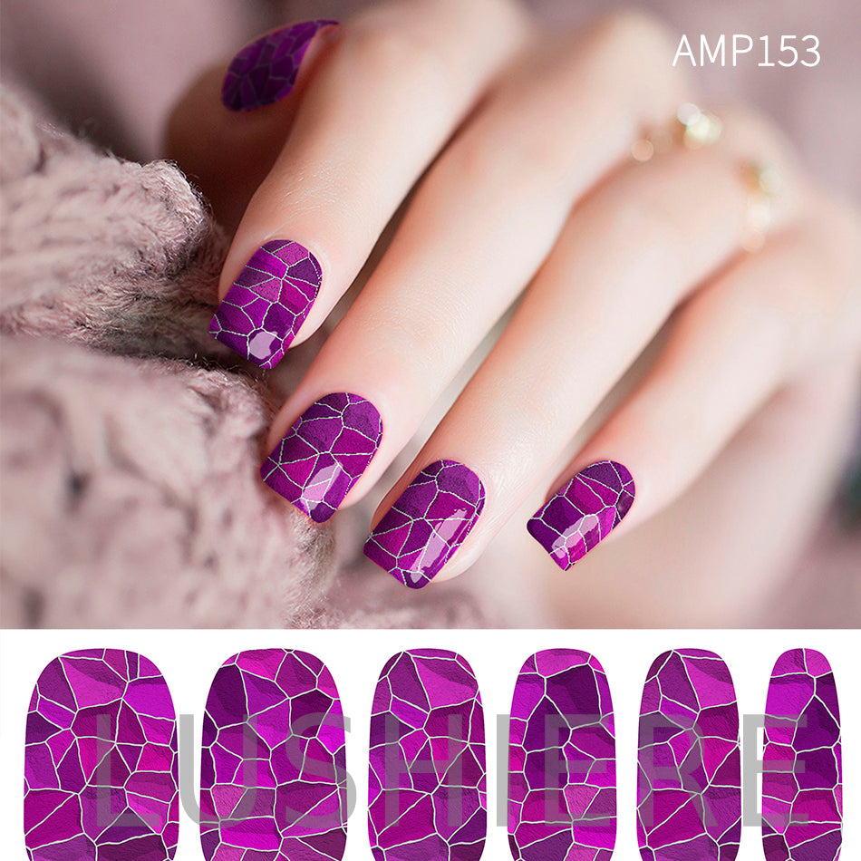 Image of manicured hand wearing nail wraps nail stickers in Purple Shatter design