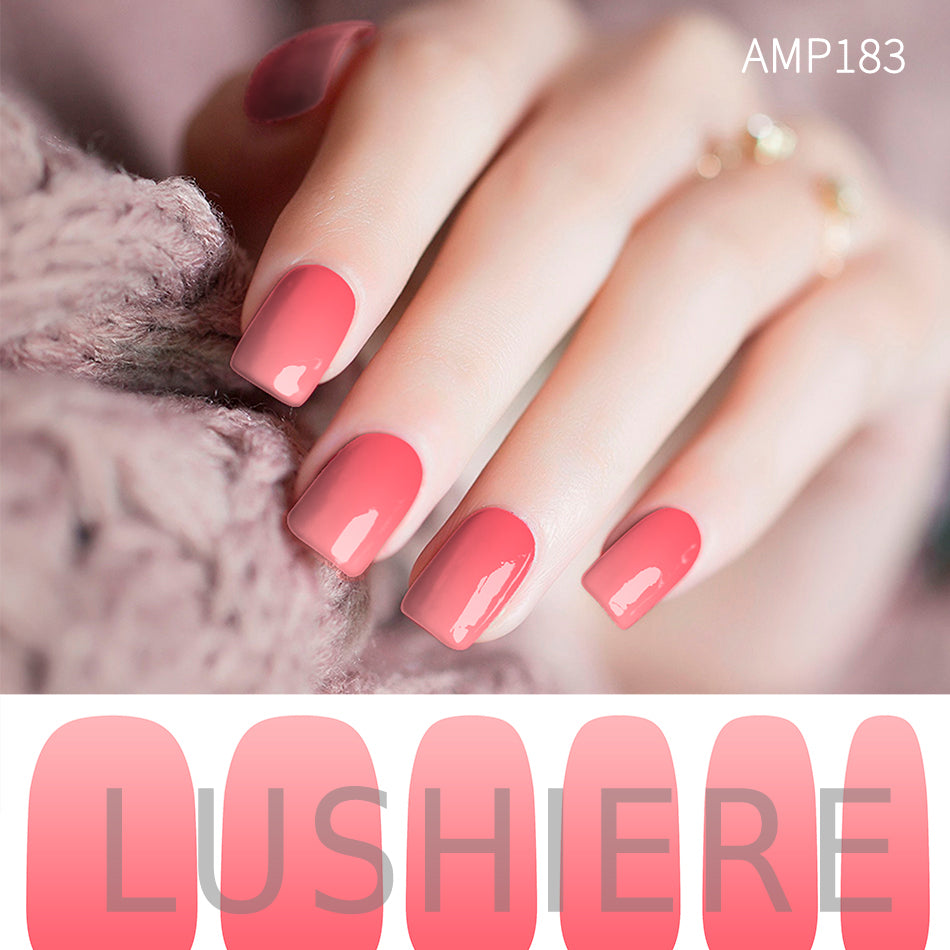 Image of manicured hand wearing nail wraps nail stickers in Pink Gradient design