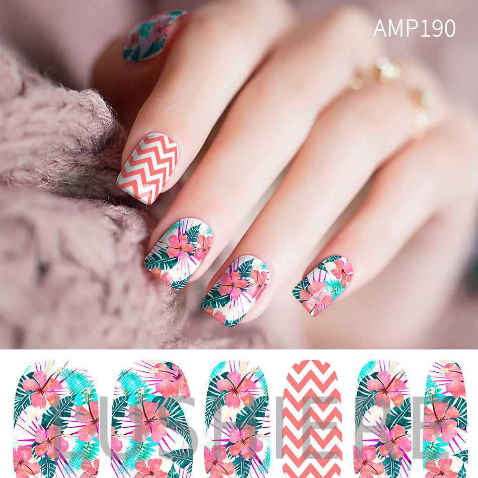 Image of manicured hand wearing nail wraps nail stickers in Tropical White design