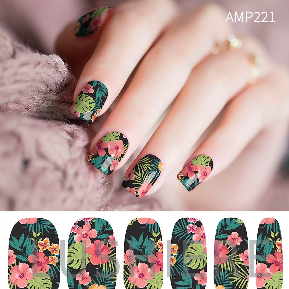 Image of manicured hand wearing nail wraps nail stickers in Tropical Green design
