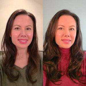 "Before and After shot of a women with long brown hair wearing LUSHIERE OOMPH Clip in Hair Extensions in Chocolate Brown (trimmed to 16"")"