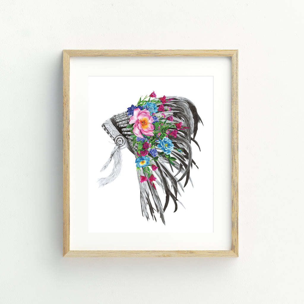Indian Headdress - A4 Print