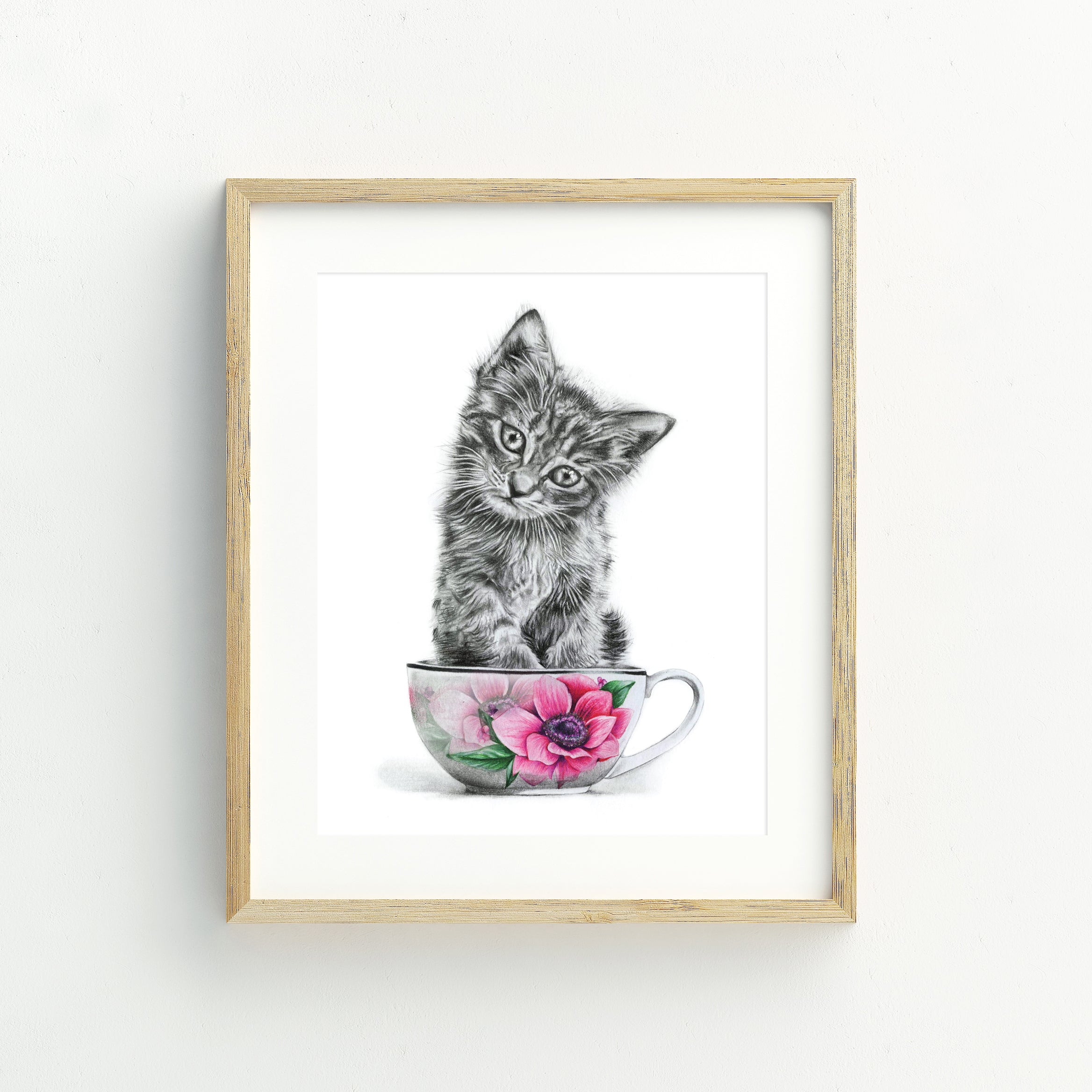 Kitten in a Cup - A5 Print