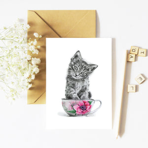 Kitten in a Cup - Greeting Card