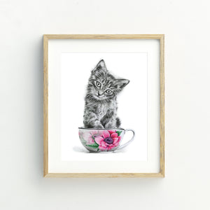 Kitten in a Cup - A4 Print