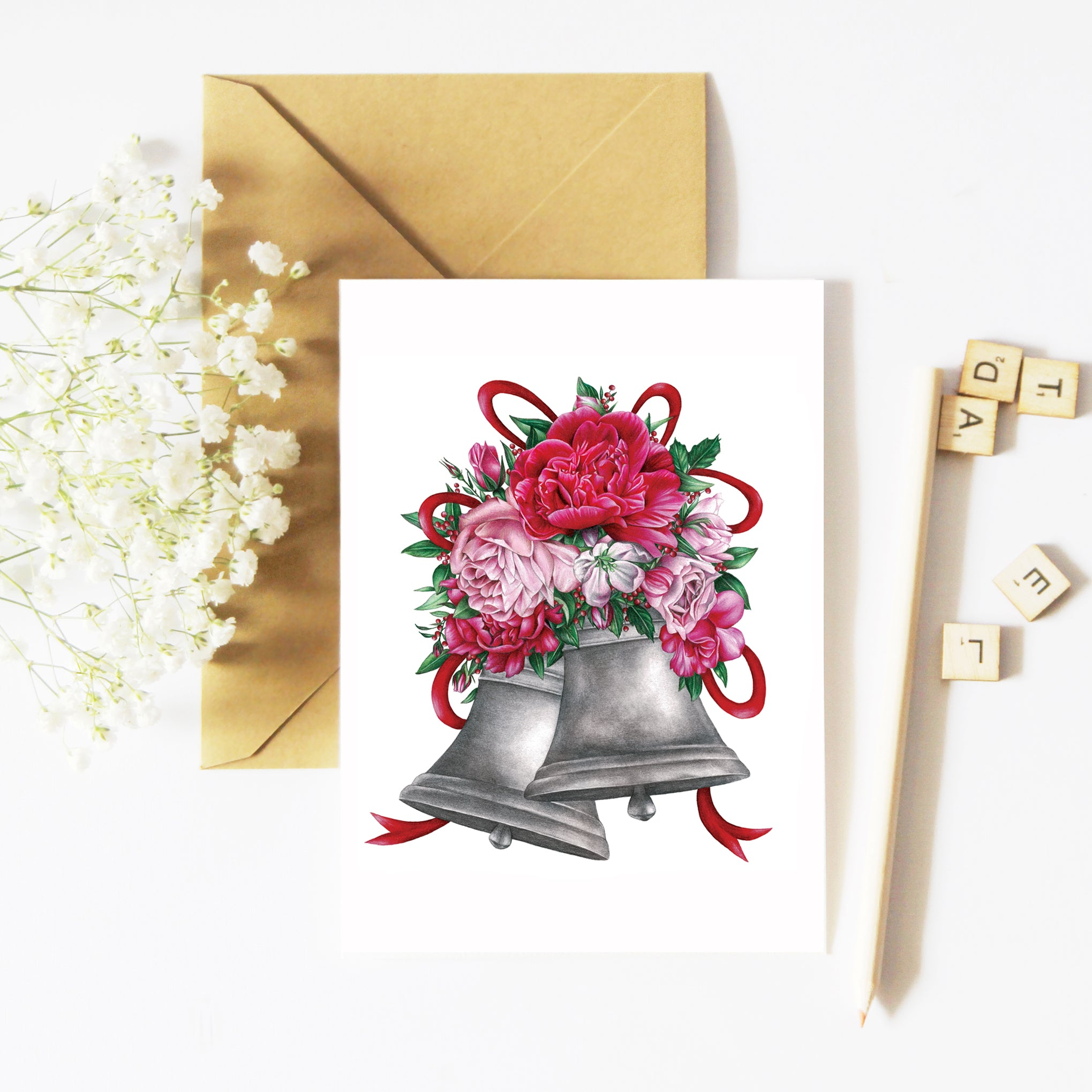 Peony Christmas Bells - Greeting Card