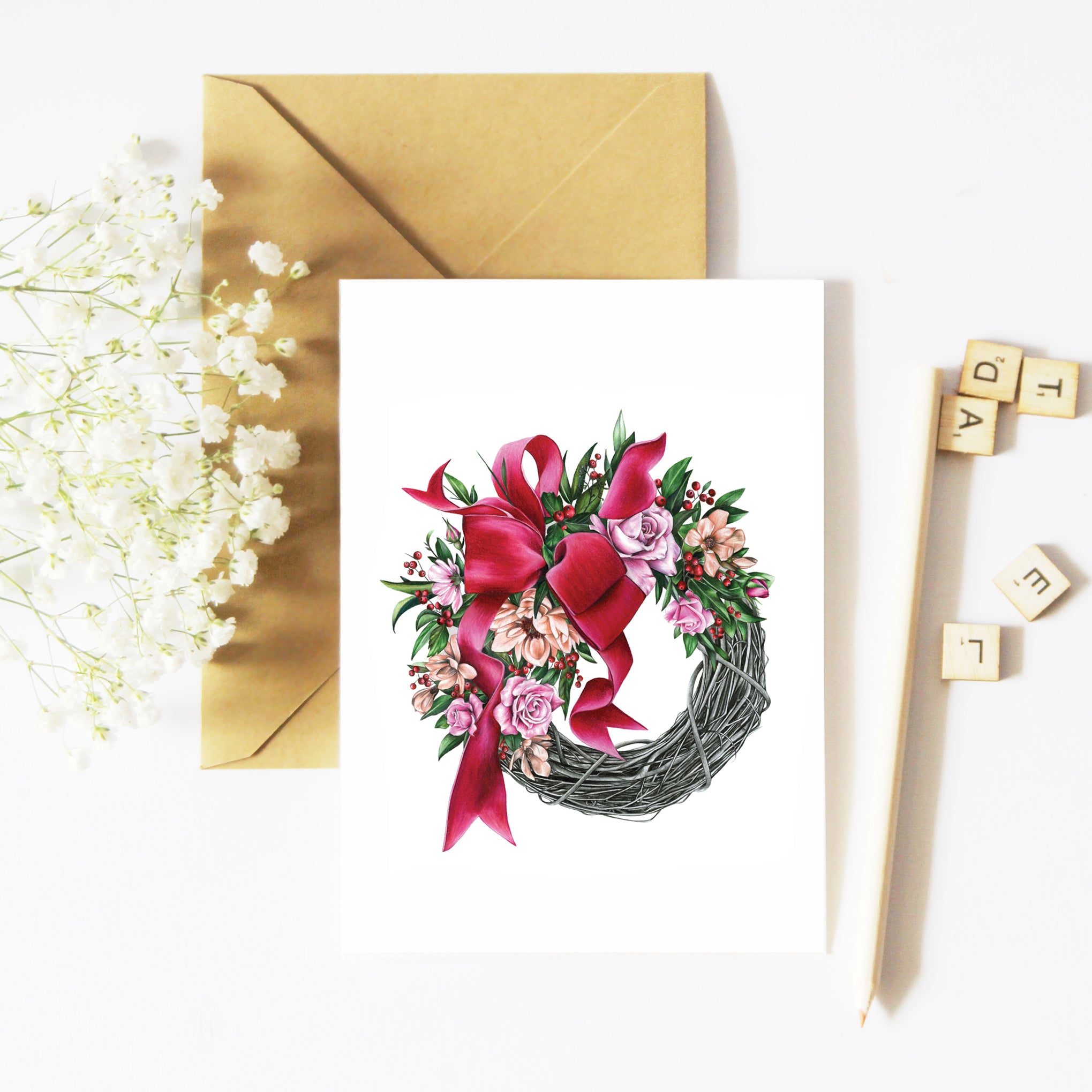 Christmas Wreath - Greeting Card