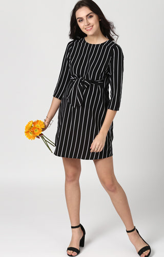Vertical Striped Dress - momsoon maternity fashion wear