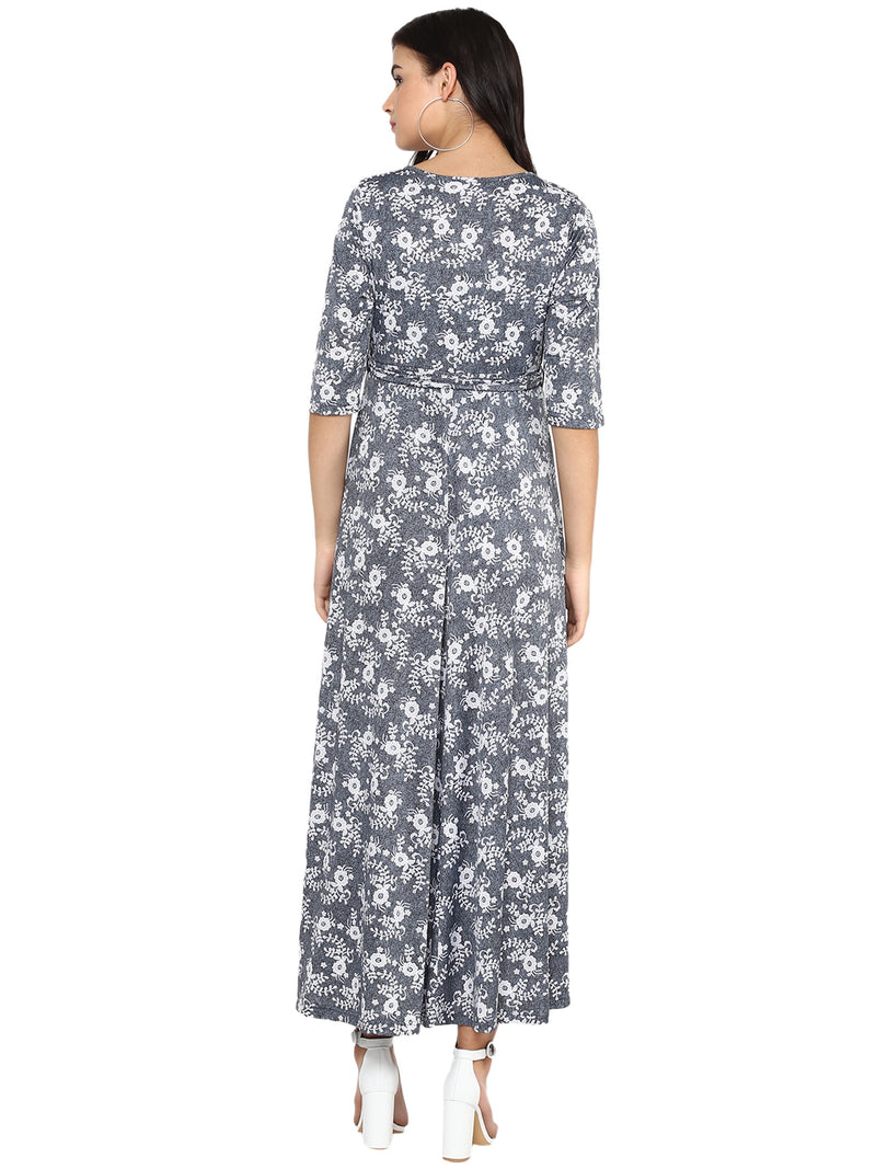 Front String Tie Up Printed Maxi Dress - momsoon maternity fashion wear