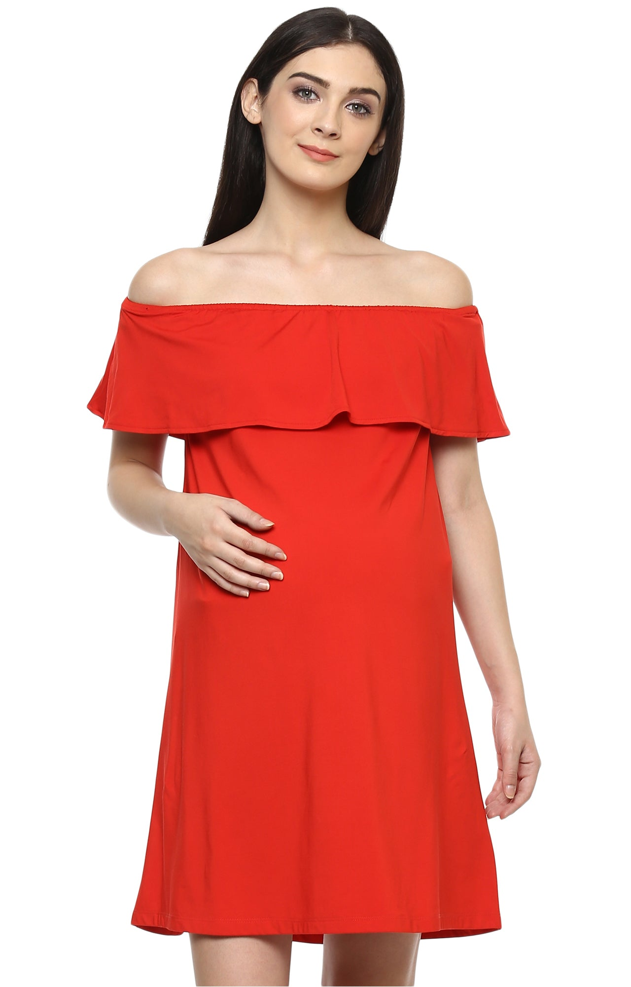 WITHOUT SLEEVES OFF SHOULDER DRESS - momsoon maternity fashion wear