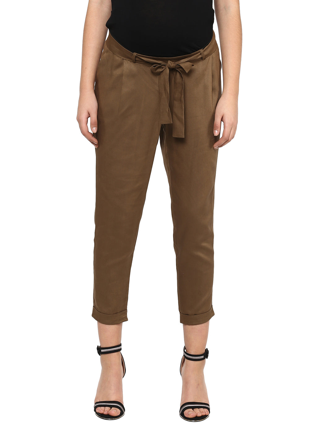 Solid Khaki Green Pant - MomSoon Maternity and Nursing Wear